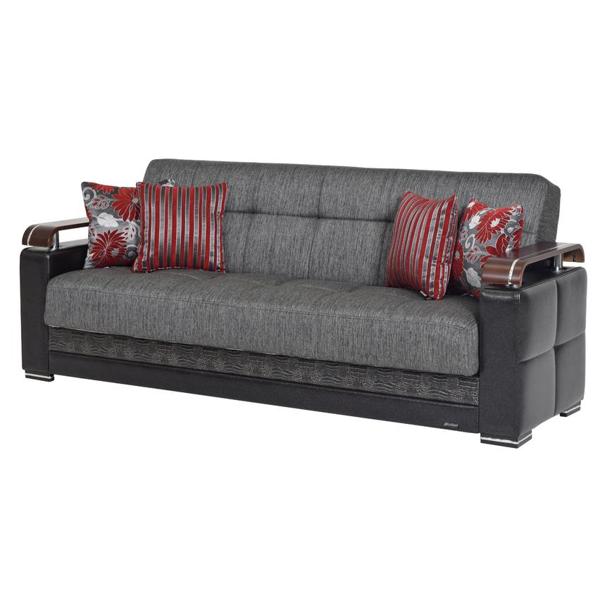 Ekol Gray Futon Sofa w/Storage  main image, 1 of 8 images.