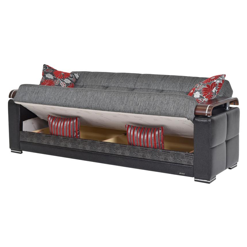 Ekol Gray Futon Sofa w/Storage  alternate image, 2 of 8 images.