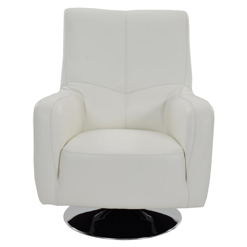 Verona White Leather Swivel Chair  alternate image, 2 of 5 images.