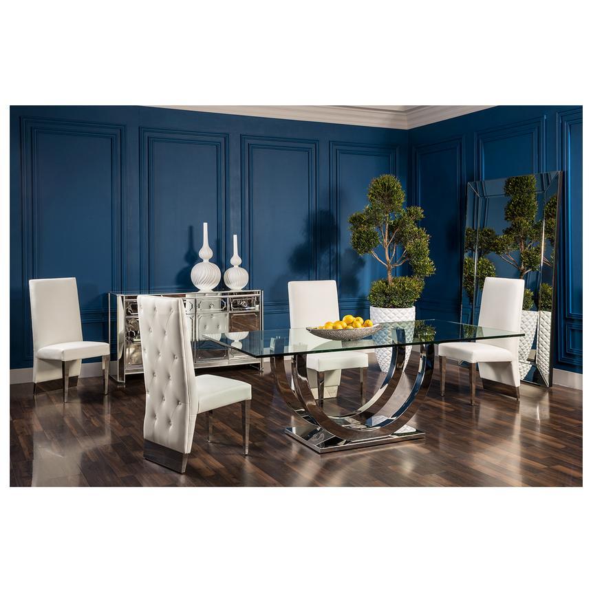 ulysis white 5 piece formal dining set el dorado furniture. Black Bedroom Furniture Sets. Home Design Ideas