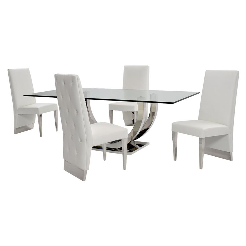 Ulysis White 5-Piece Formal Dining Set  main image, 1 of 12 images.