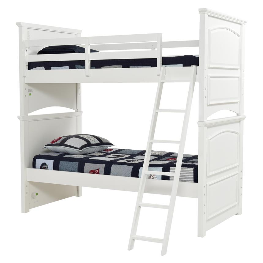 Kailee White Twin Over Twin Bunk Bed  main image, 1 of 8 images.