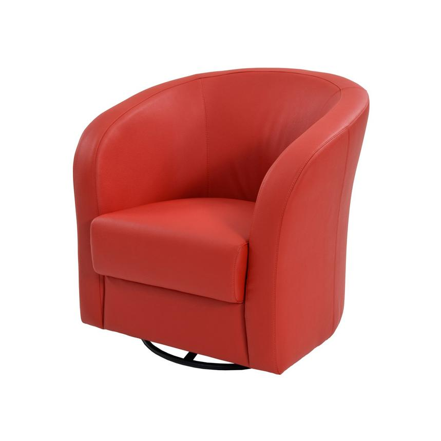 Delia Red Swivel Accent Chair  main image, 1 of 6 images.