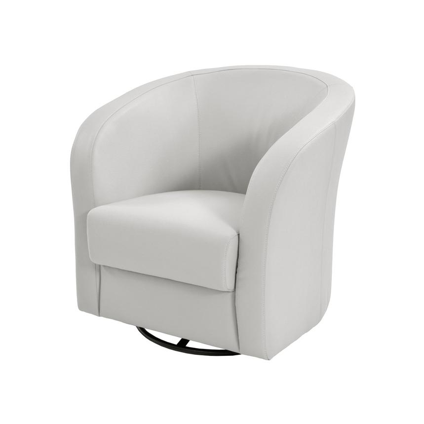 Delia White Swivel Accent Chair  main image, 1 of 5 images.