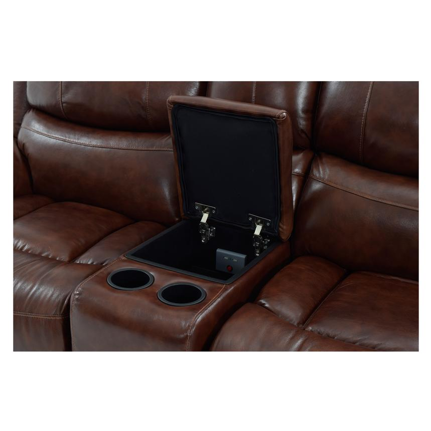 Abilene Recliner Leather Sofa w/Console  alternate image, 7 of 8 images.