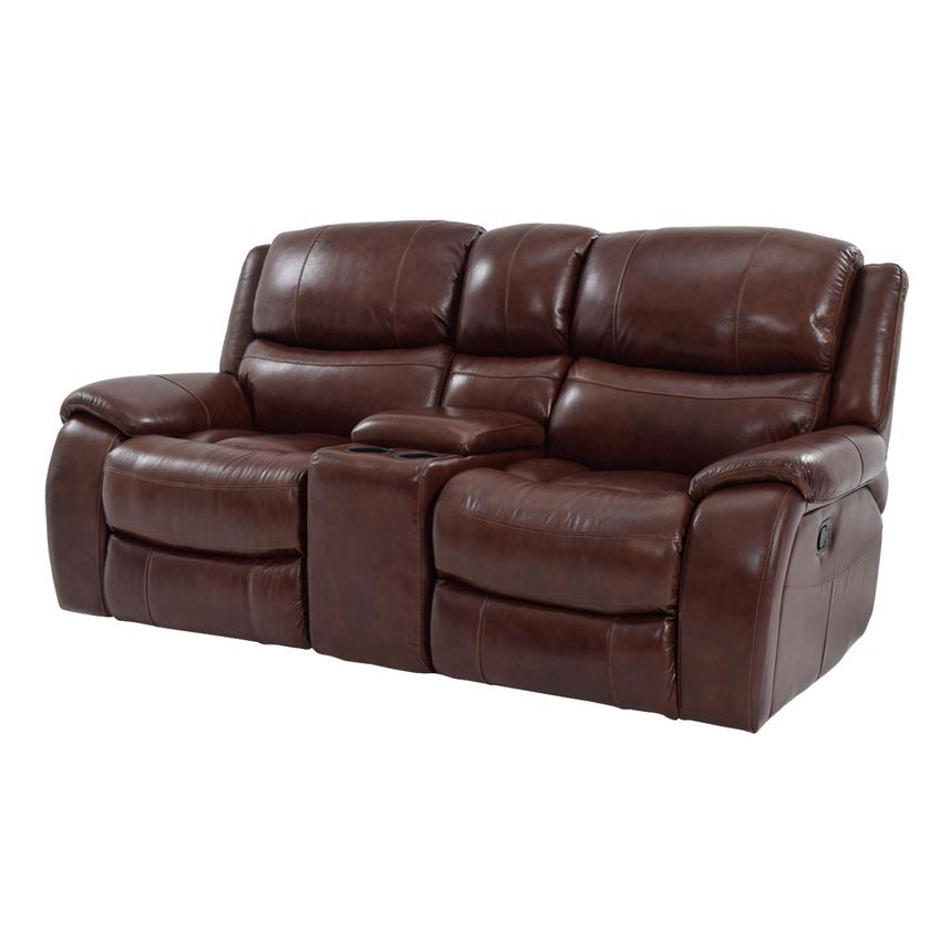 Abilene Recliner Leather Sofa W/Console Main Image, 1 Of 9 Images.