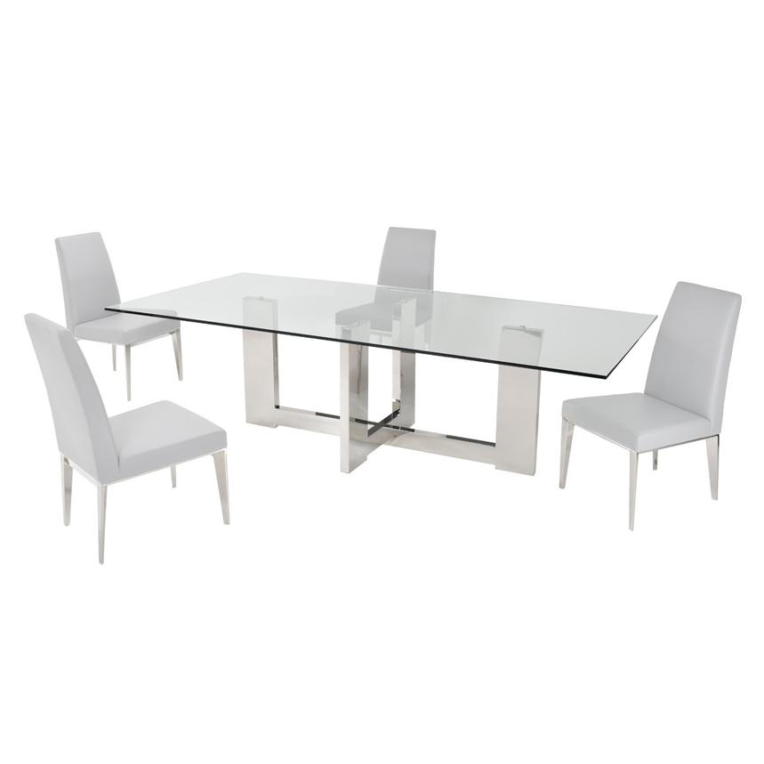 Opus White 5 Piece Formal Dining Set