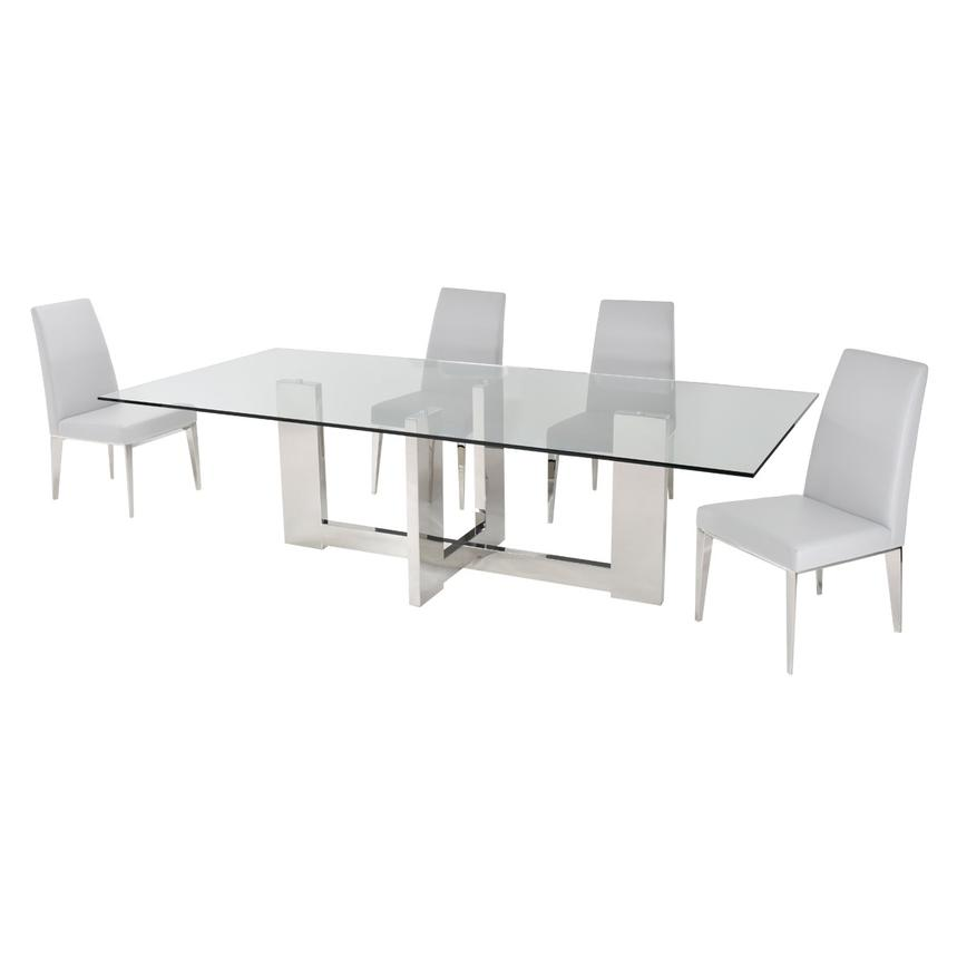Opus White 5-Piece Formal Dining Set  alternate image, 3 of 11 images.