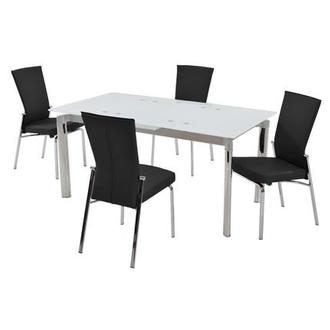 Tara White/Black 5-Piece Formal Dining Set