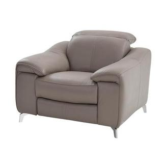 Gaspy Gray Power Motion Leather Recliner