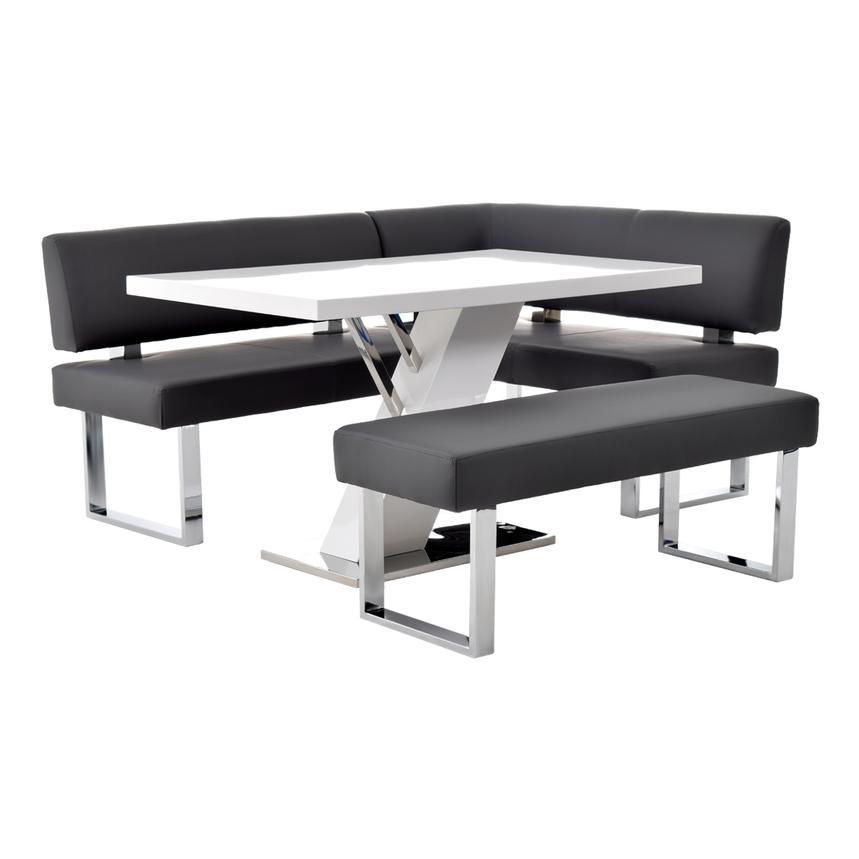 Merveilleux Linden White/Gray Corner Nook Set W/Bench Main Image, 1 Of 13
