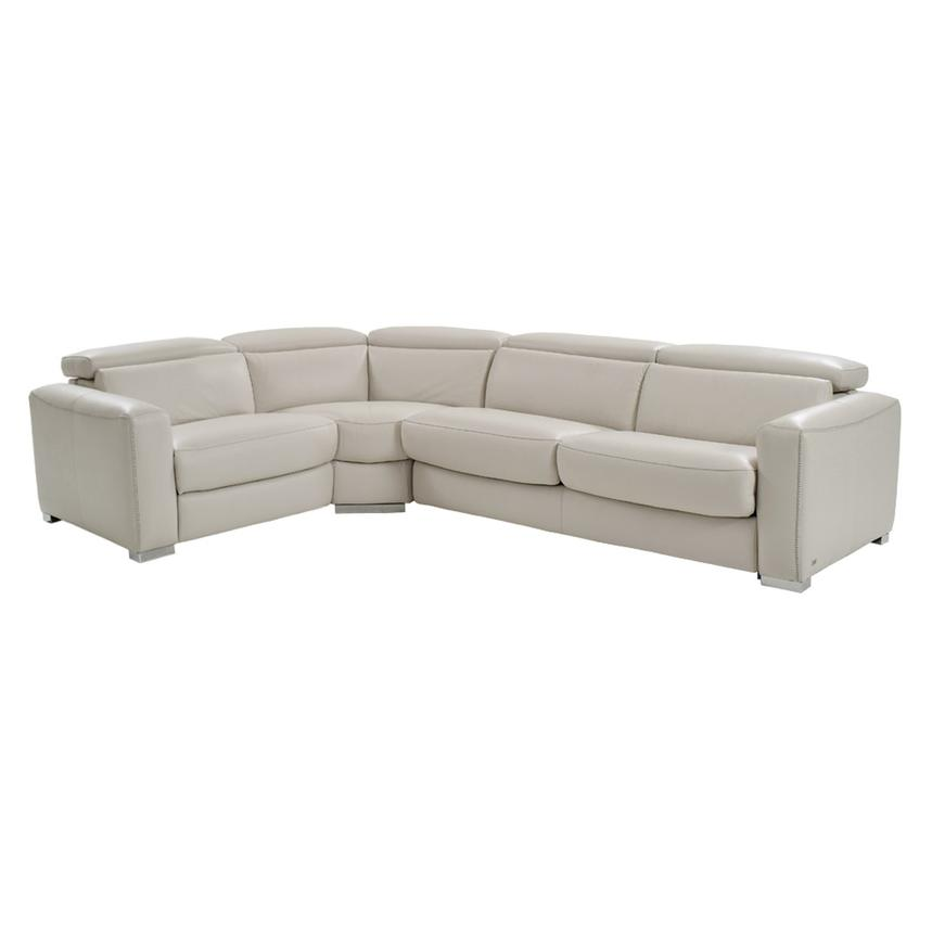 Bay Harbor Cream Power Motion Leather Sofa w/Right Sleeper  main image, 1 of 7 images.