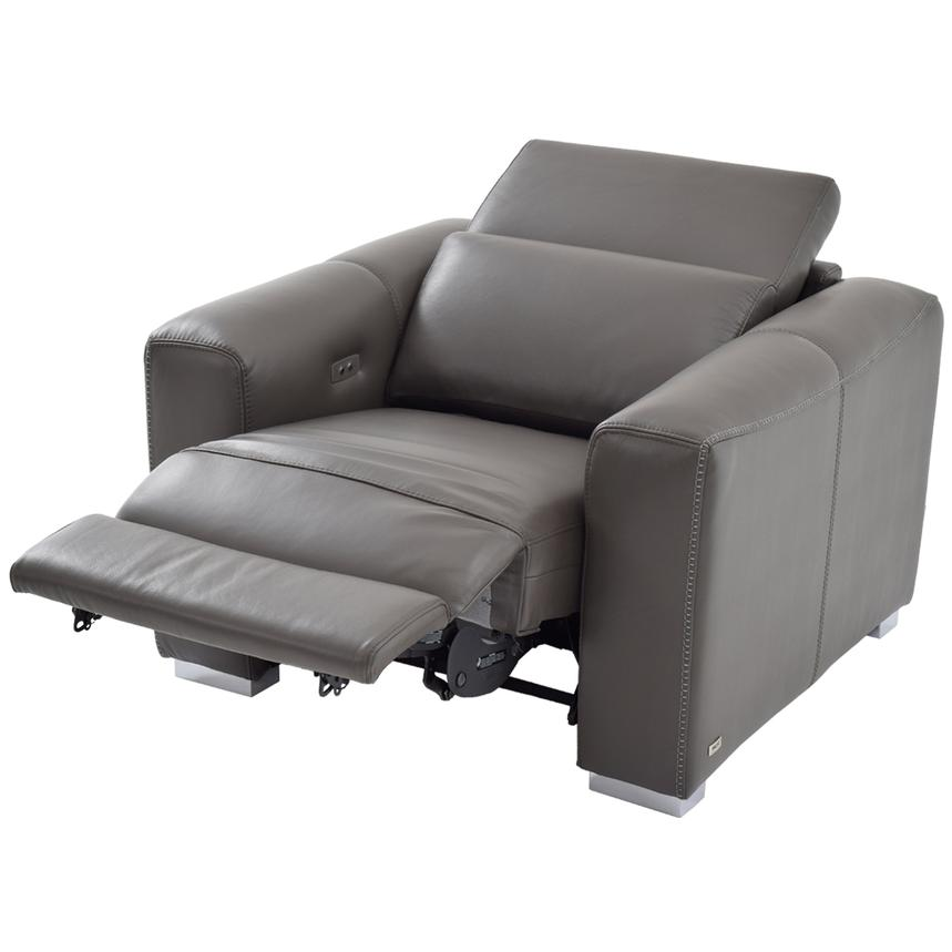 Bay Harbor Gray Power Motion Leather Recliner  alternate image, 2 of 9 images.