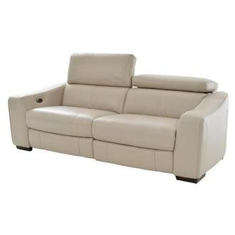 James Cream Power Motion Leather Sofa