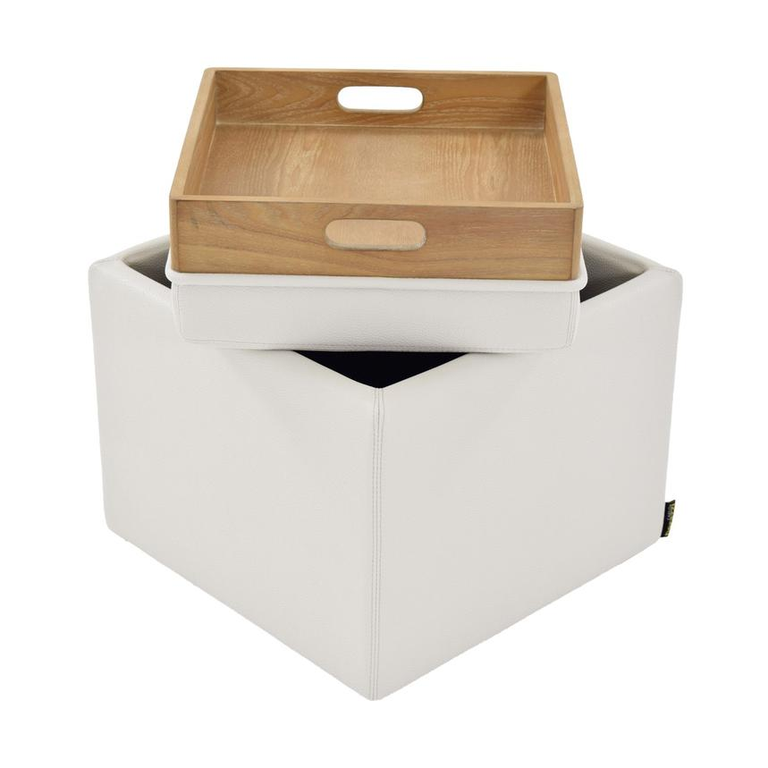 Bucky White Ottoman w/Storage  main image, 1 of 5 images.