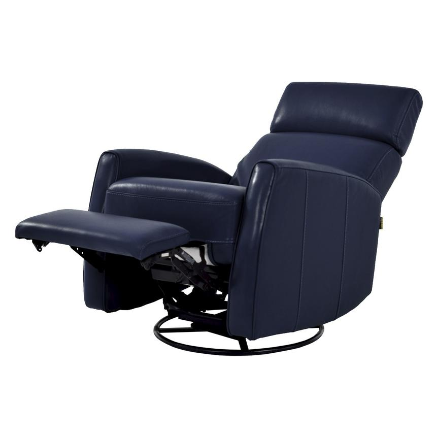 Lucca Blue Power Motion Leather Recliner  alternate image, 2 of 7 images.