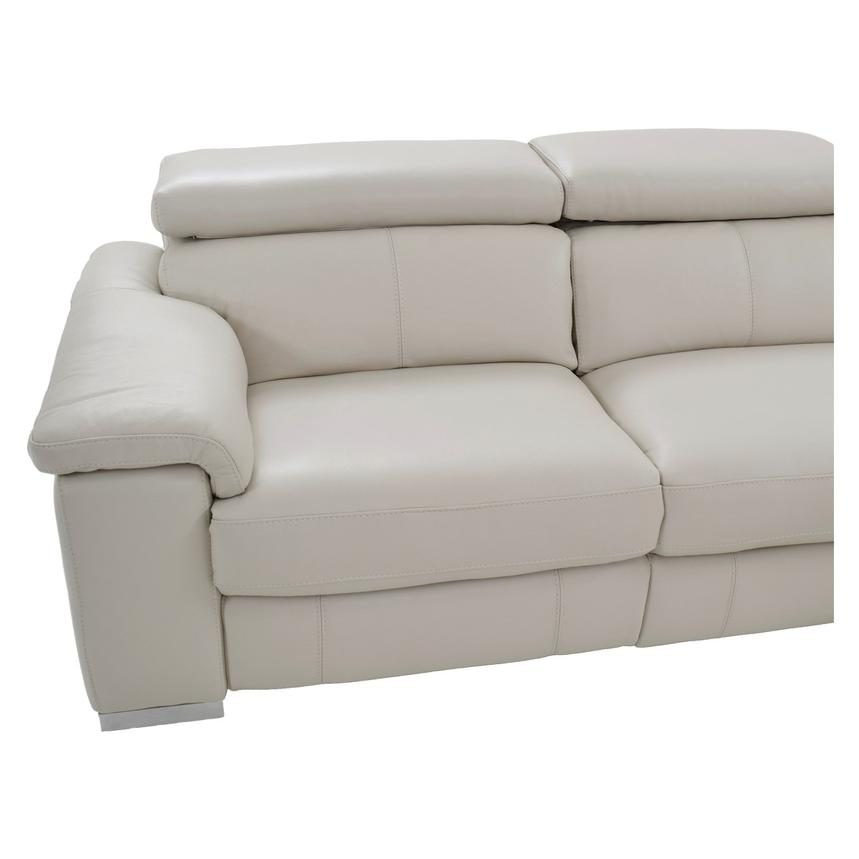 Nathan Cream Power Motion Leather Sofa w/Console  alternate image, 6 of 11 images.