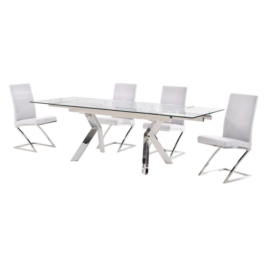 Lynne Clear/Jade White 5-Piece Formal Dining Set  alternate image, 2 of 12 images.