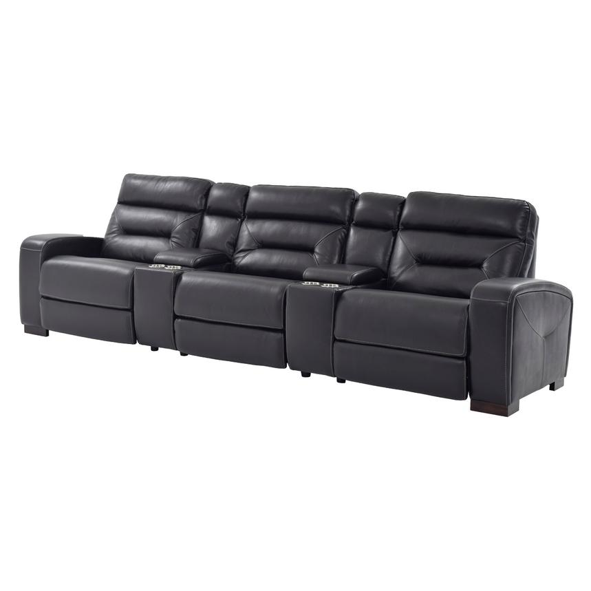 Rochester Black Home Theater Leather Seating Main Image, 1 Of 11 Images.