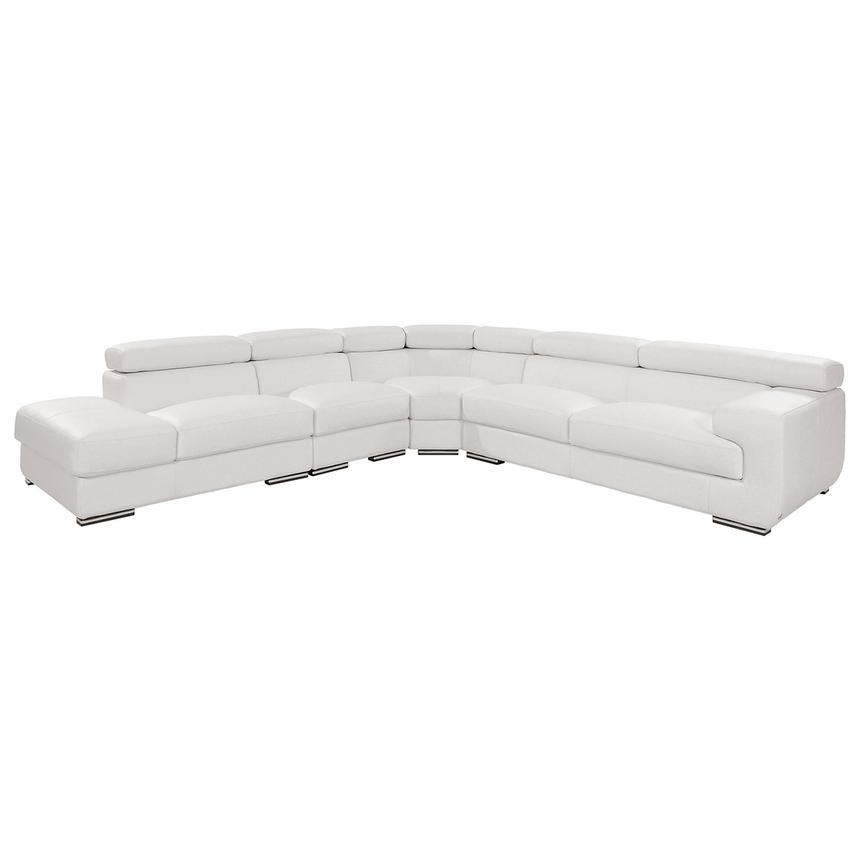 Grace White Leather Sofa w/Left Chaise  main image, 1 of 8 images.