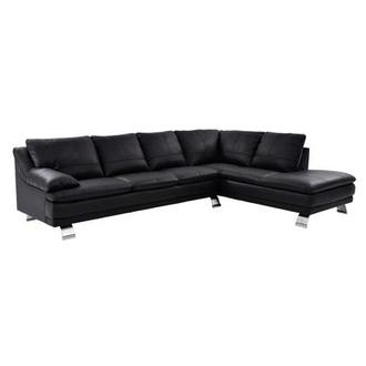 Rio Black Leather Sofa w/Right Chaise