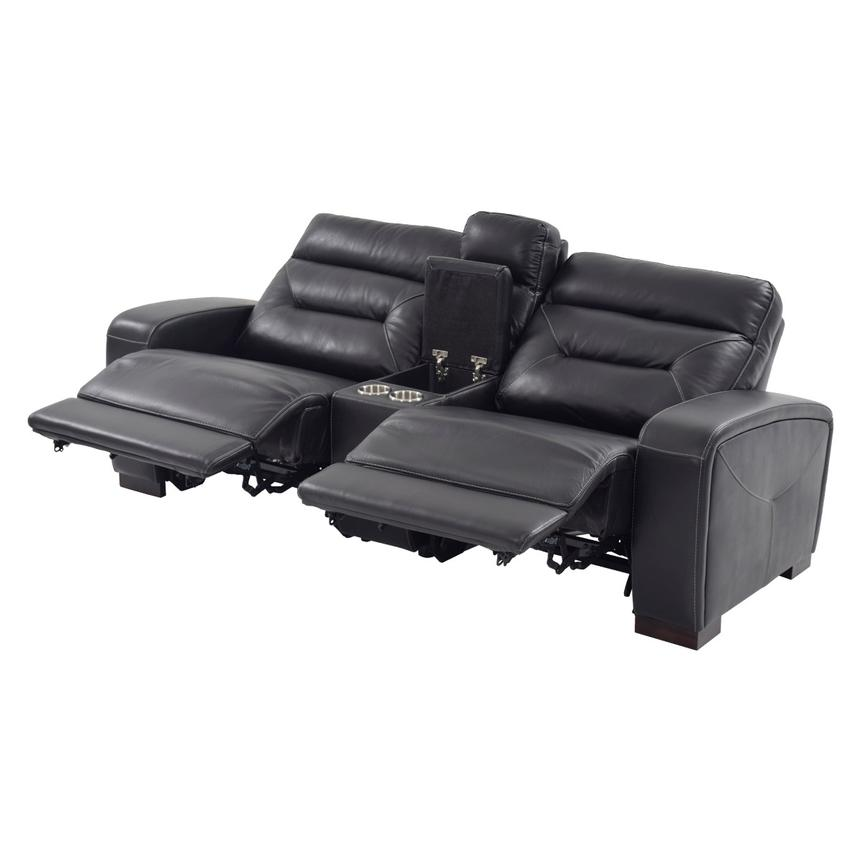Rochester Black Power Motion Leather Sofa w/Console  alternate image, 2 of 10 images.