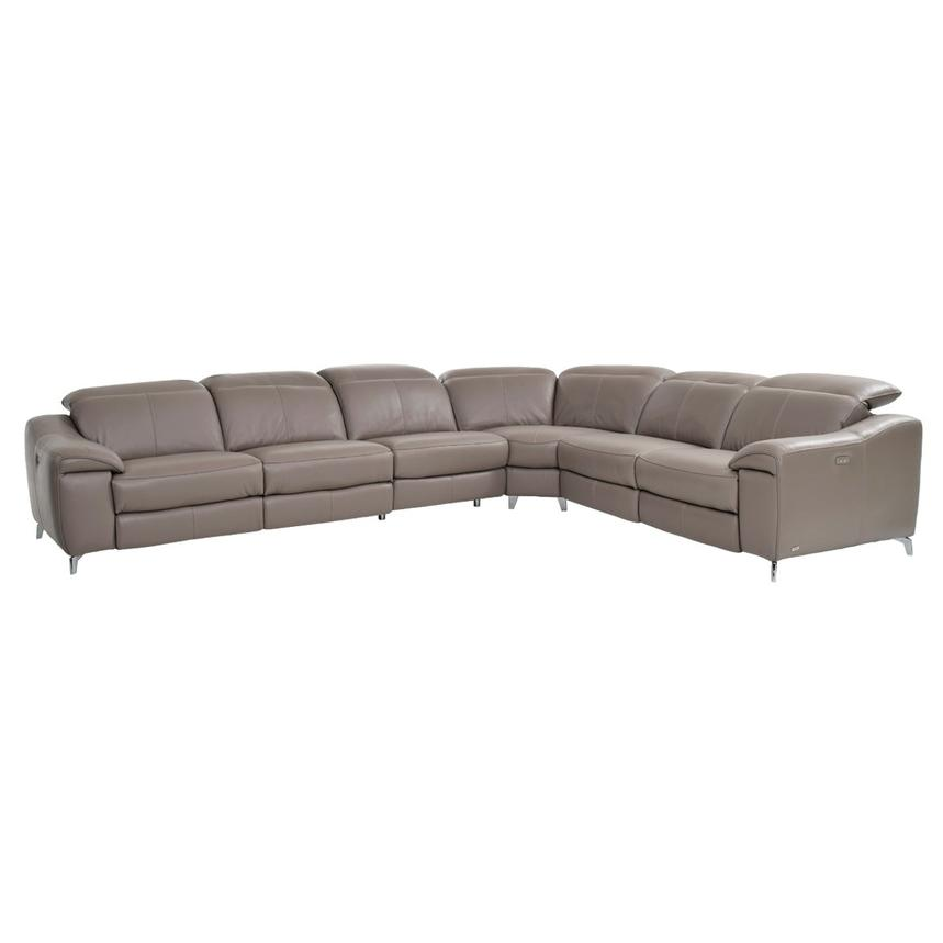Gaspy Gray Power Motion Leather Sofa w/Right & Left Recliners  main image, 1 of 11 images.