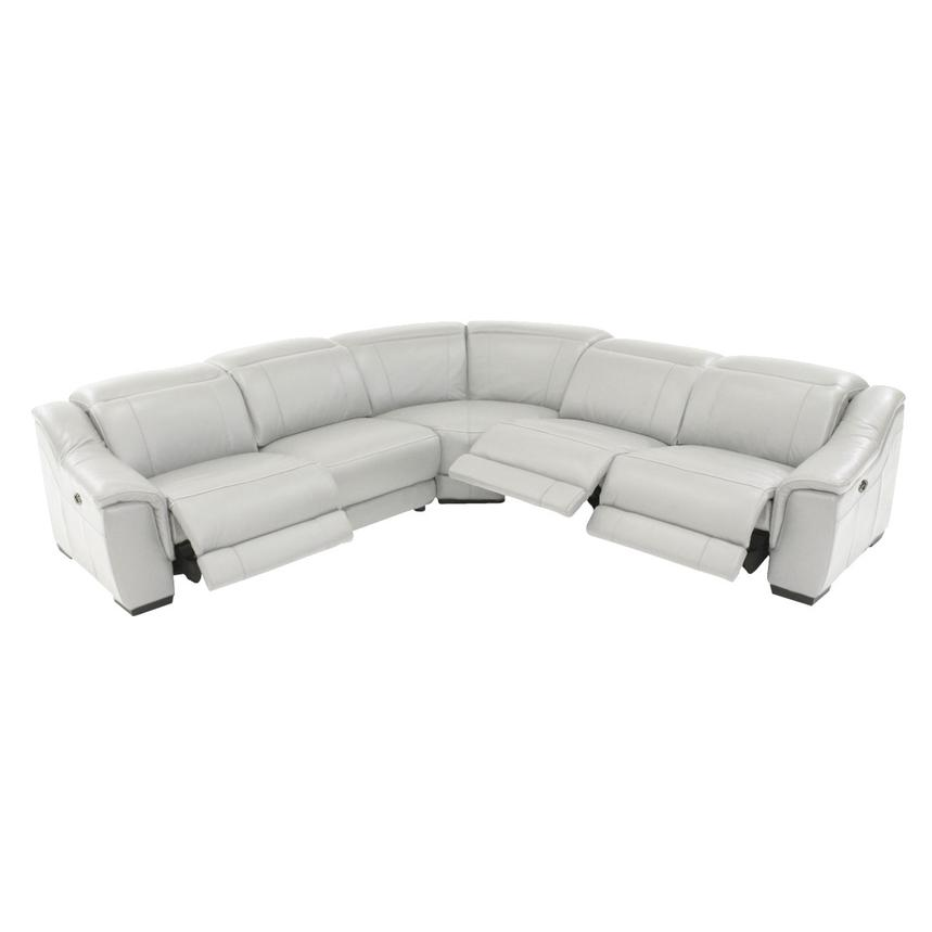 Davis White Power Motion Leather Sofa W Right Left Recliners El