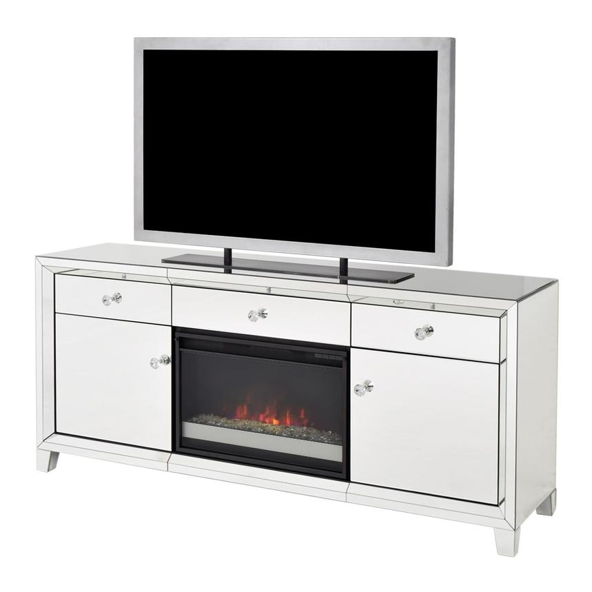 Amia Mirrored Faux Fireplace w/Remote Control  main image, 1 of 9 images.