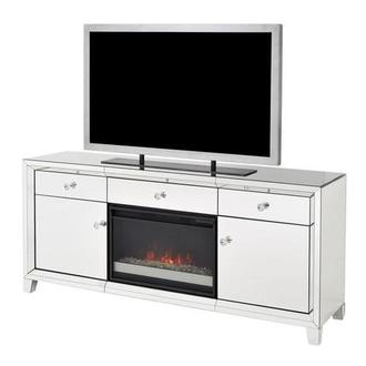 Amia Mirrored Faux Fireplace w/Remote Control
