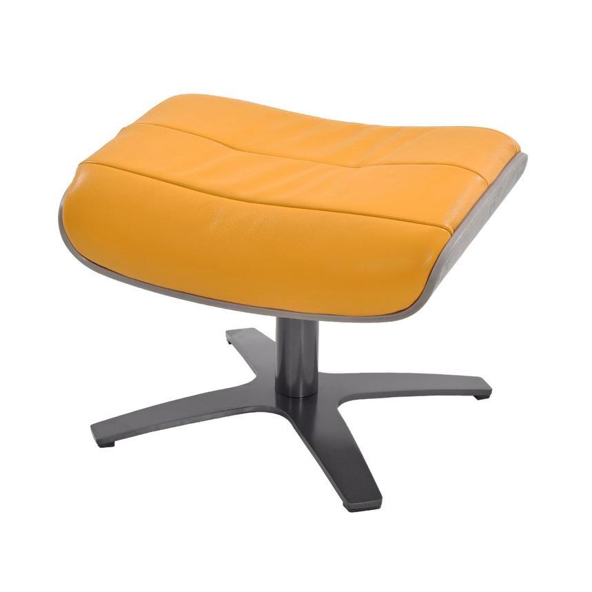 Enzo Yellow Leather Ottoman  main image, 1 of 4 images.