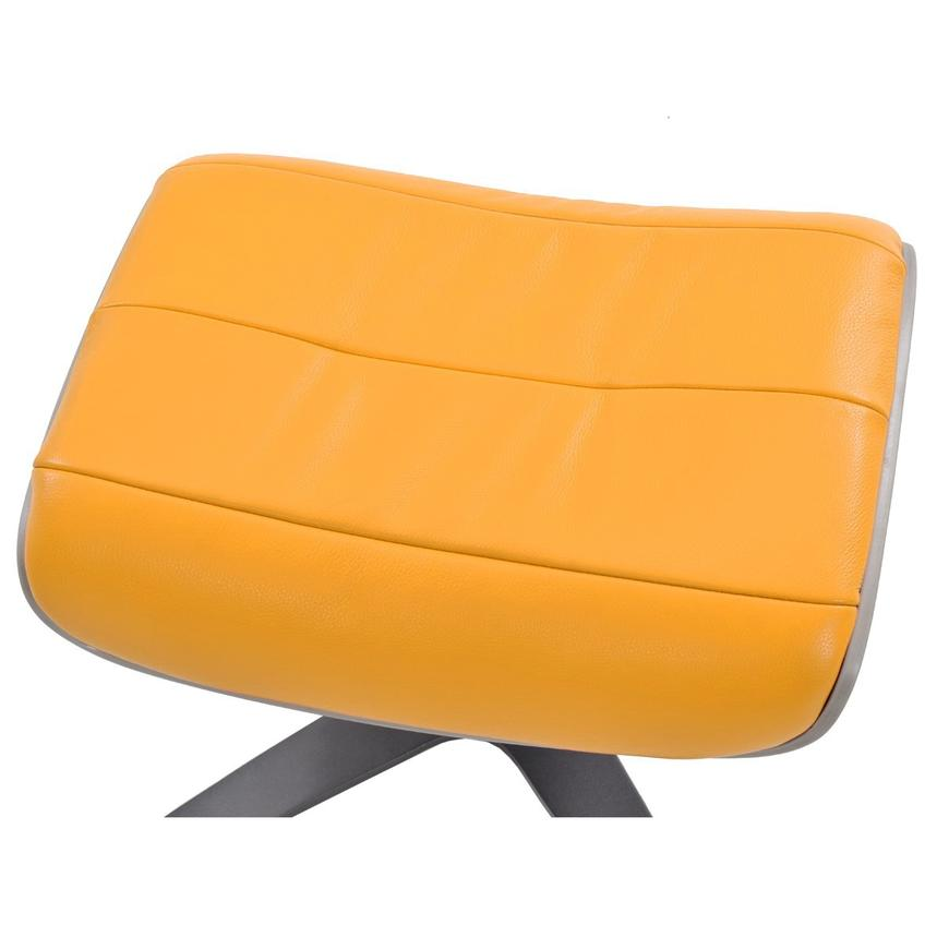 Enzo Yellow Leather Ottoman  alternate image, 2 of 5 images.