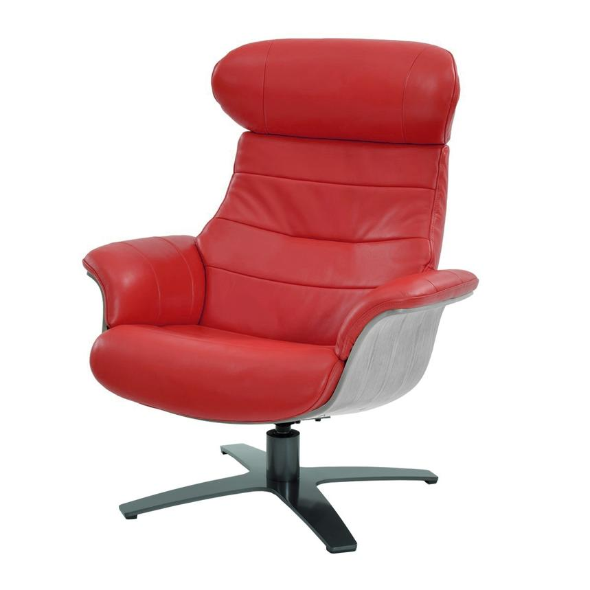 Enzo Red Leather Swivel Chair  main image, 1 of 9 images.