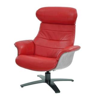 Ordinaire Enzo Red Leather Swivel Chair