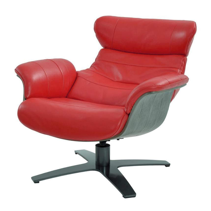 Enzo Red Leather Swivel Chair  alternate image, 2 of 10 images.