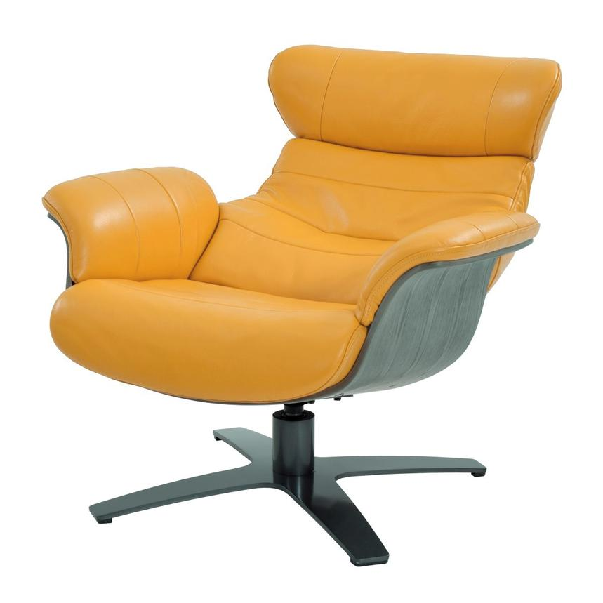 Enzo Yellow Leather Swivel Chair Alternate Image, 2 Of 10 Images.