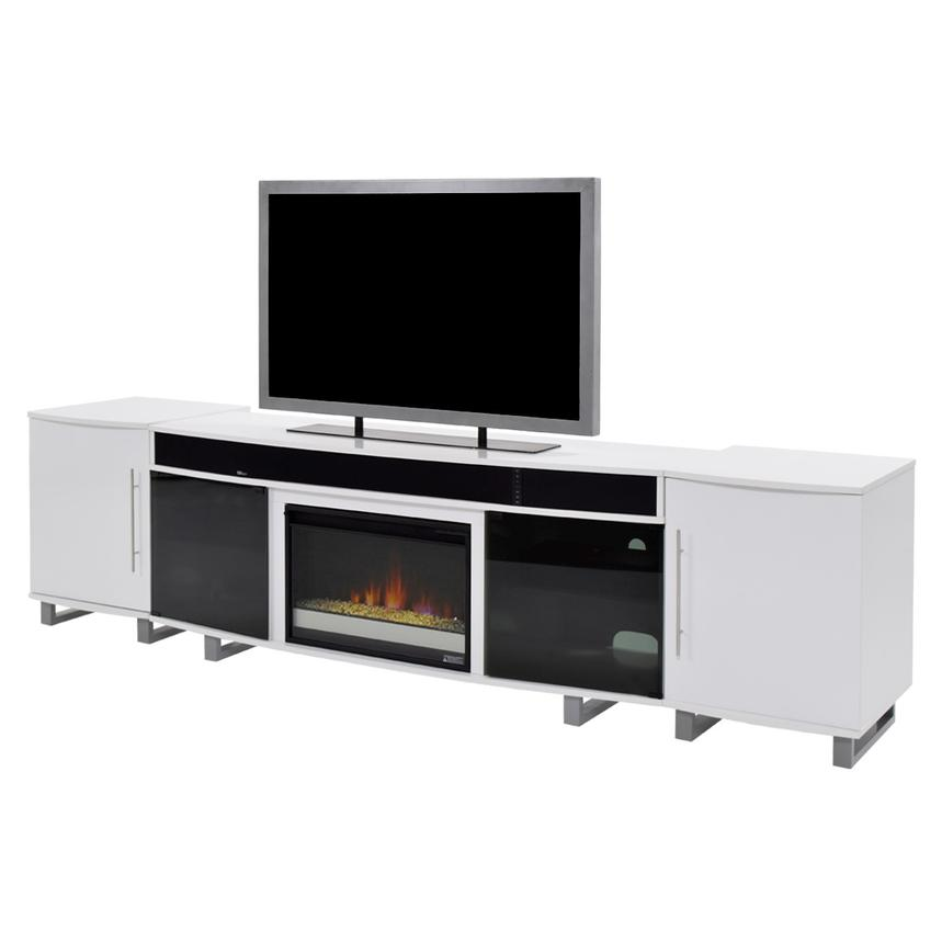 Enterprise White Faux Fireplace W Speakers Main Image 1 Of 6 Images