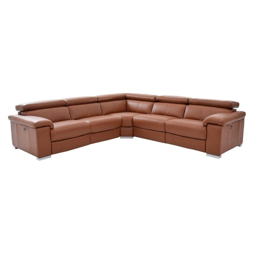 Nathan Tan Power Motion Leather Sofa w/Right & Left Recliners  main image, 1 of 5 images.