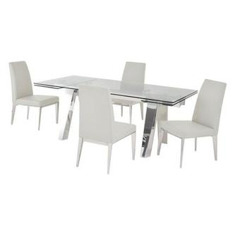 Madox White 5-Piece Formal Dining Set