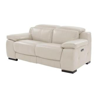 Gian Marco Cream Power Motion Leather Loveseat