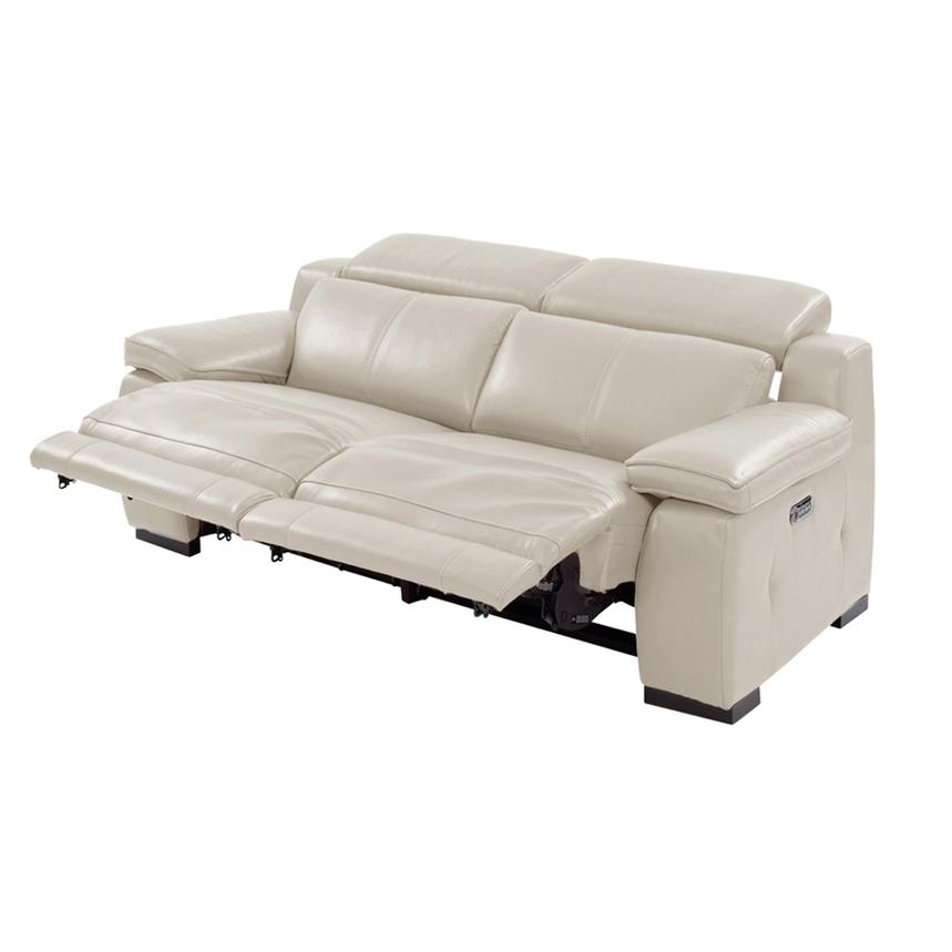 Gian Marco Cream Power Motion Leather Loveseat  alternate image, 2 of 8 images.