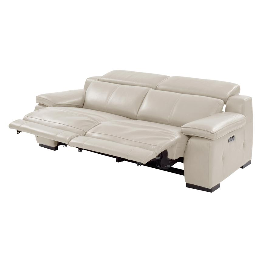Gian Marco Cream Power Motion Leather Sofa  alternate image, 2 of 8 images.