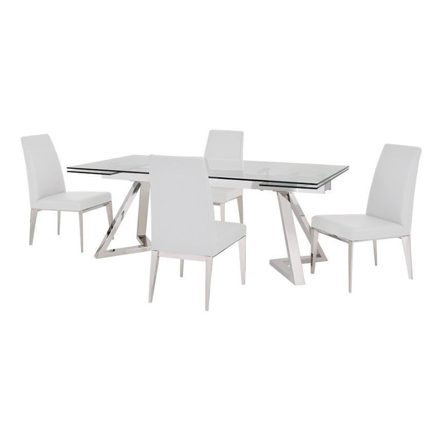 Suri White 5 Piece Formal Dining Set Main Image, 1 Of 12 Images.