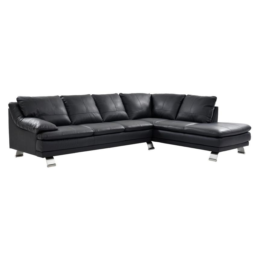 Rio Dark Gray Leather Sofa w/Right Chaise  main image, 1 of 7 images.