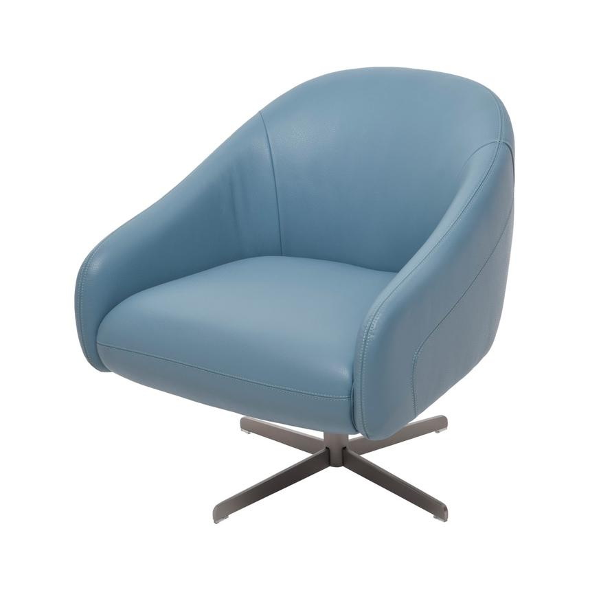Brookville Blue Leather Swivel Chair Main Image, 1 Of 7 Images.