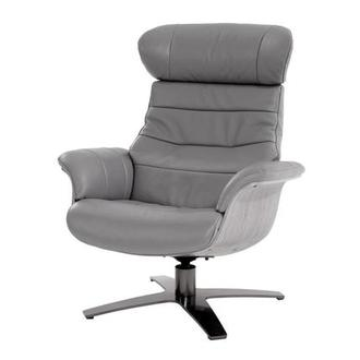 Enzo Gray Leather Swivel Chair