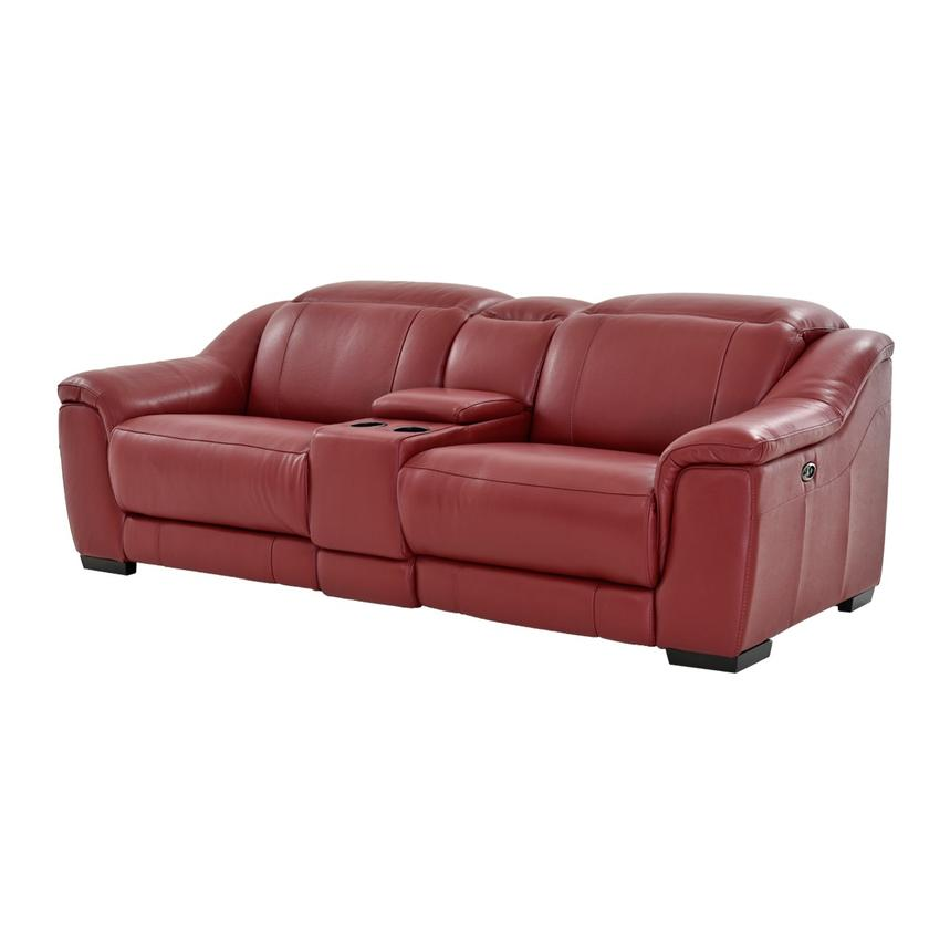 Davis Red Power Motion Leather Sofa w/Console  main image, 1 of 13 images.