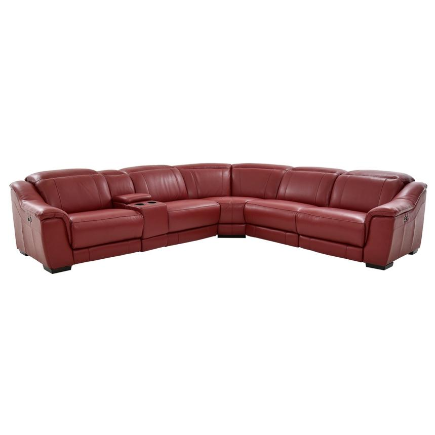 Davis Red Power Motion Leather Sofa w/Right & Left Recliners  main image, 1 of 13 images.