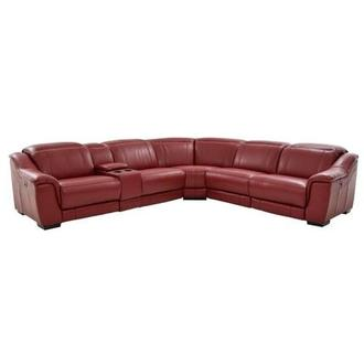 Davis Red Power Motion Leather Sofa w/Right & Left Recliners