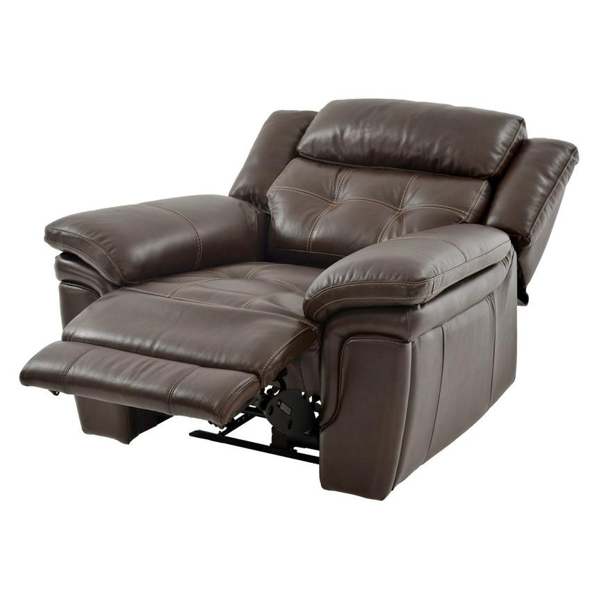 Stallion Brown Power Motion Leather Recliner  alternate image, 2 of 8 images.